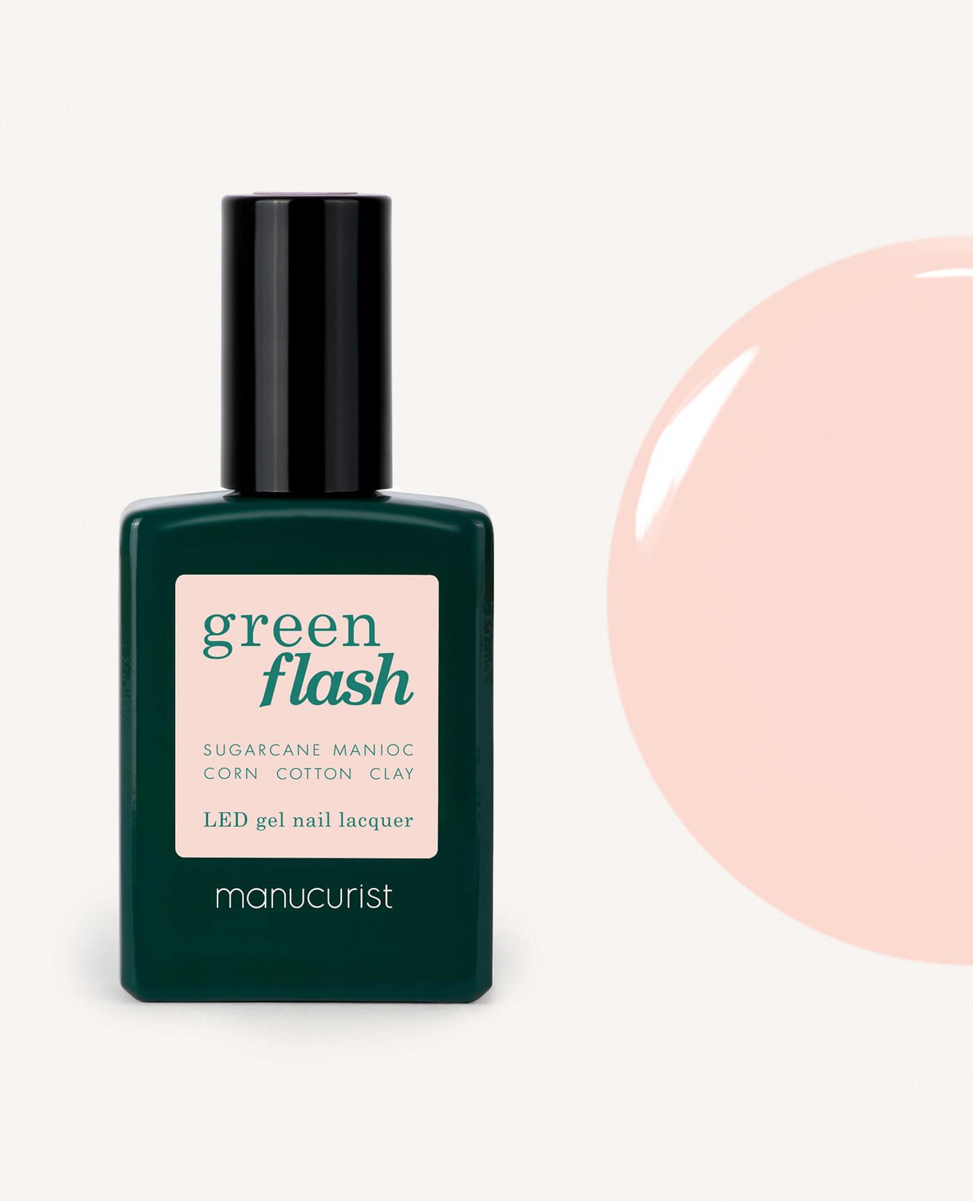 Vernis à ongles bio semi-permanent green flash de la marque Manucurist made in france de couleur pale rose