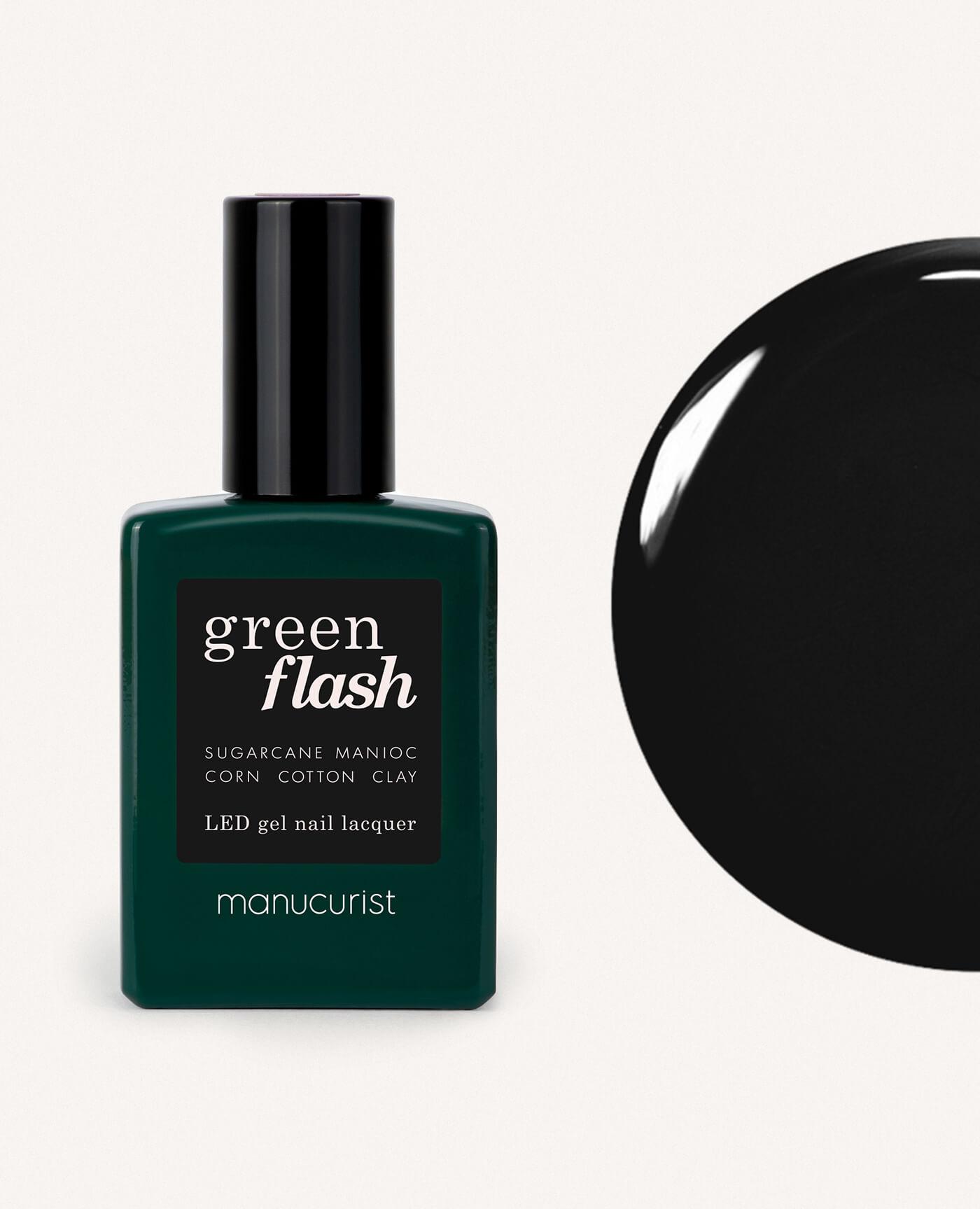 Vernis à ongles bio semi-permanent green flash de la marque Manucurist made in france de couleur noir licorice