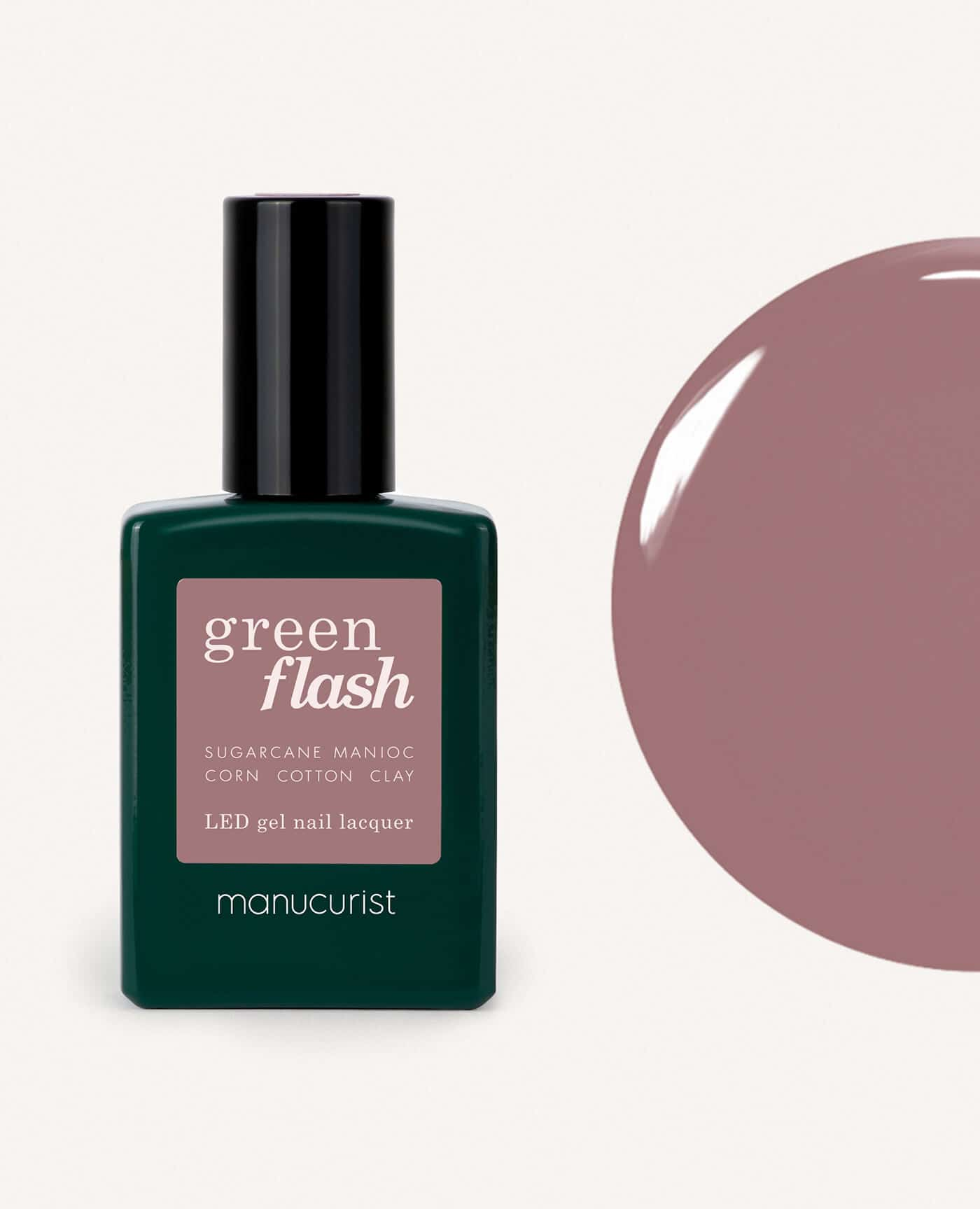 Vernis à ongles bio semi-permanent green flash de la marque Manucurist made in france de couleur rose mountbatten