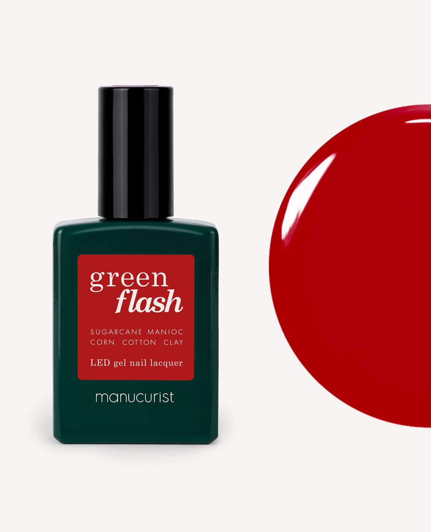 Vernis à ongles bio semi-permanent green flash de la marque Manucurist made in france de couleur rouge red cherry