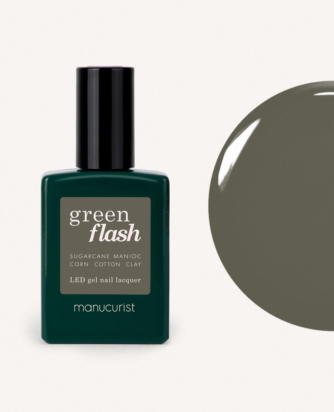 Vernis à ongles bio semi-permanent green flash de la marque Manucurist made in france de couleur vert khaki