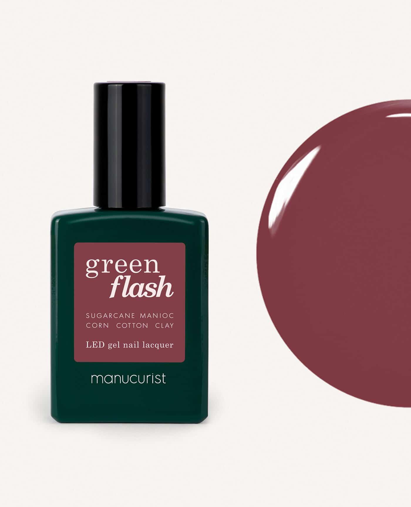 Vernis à ongles bio semi-permanent green flash de la marque Manucurist made in france de couleur violet fuchsias victoria plum