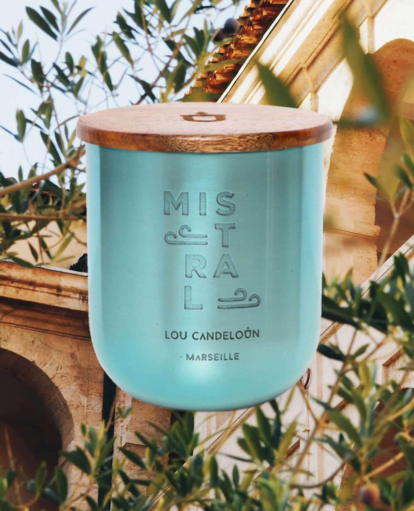 Bougie naturelle parfumée Mistral senteur Bergamote et bois d'olivier de la marque Made in France Lou Candeloun