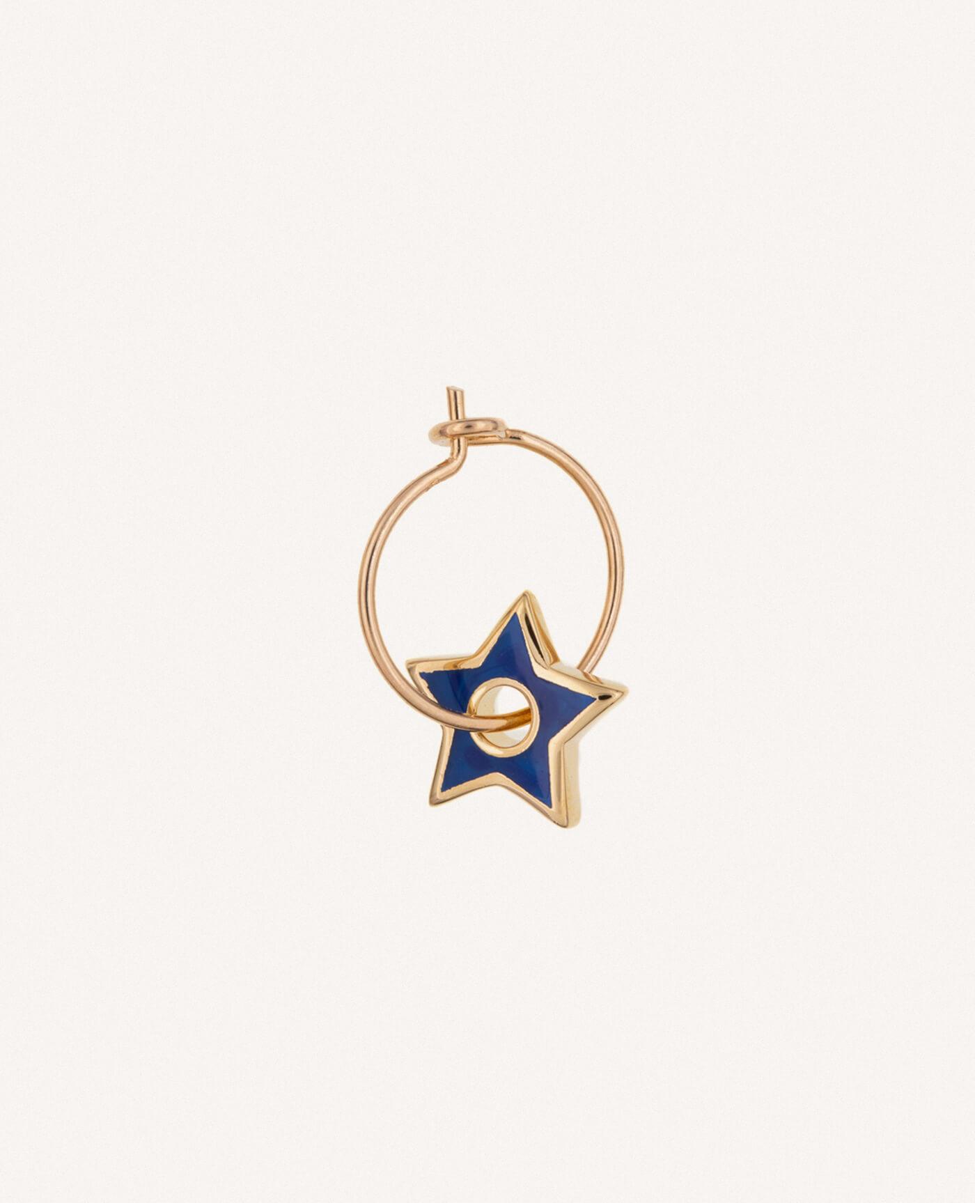boucle d'oreille créole charm étoile bleue eva