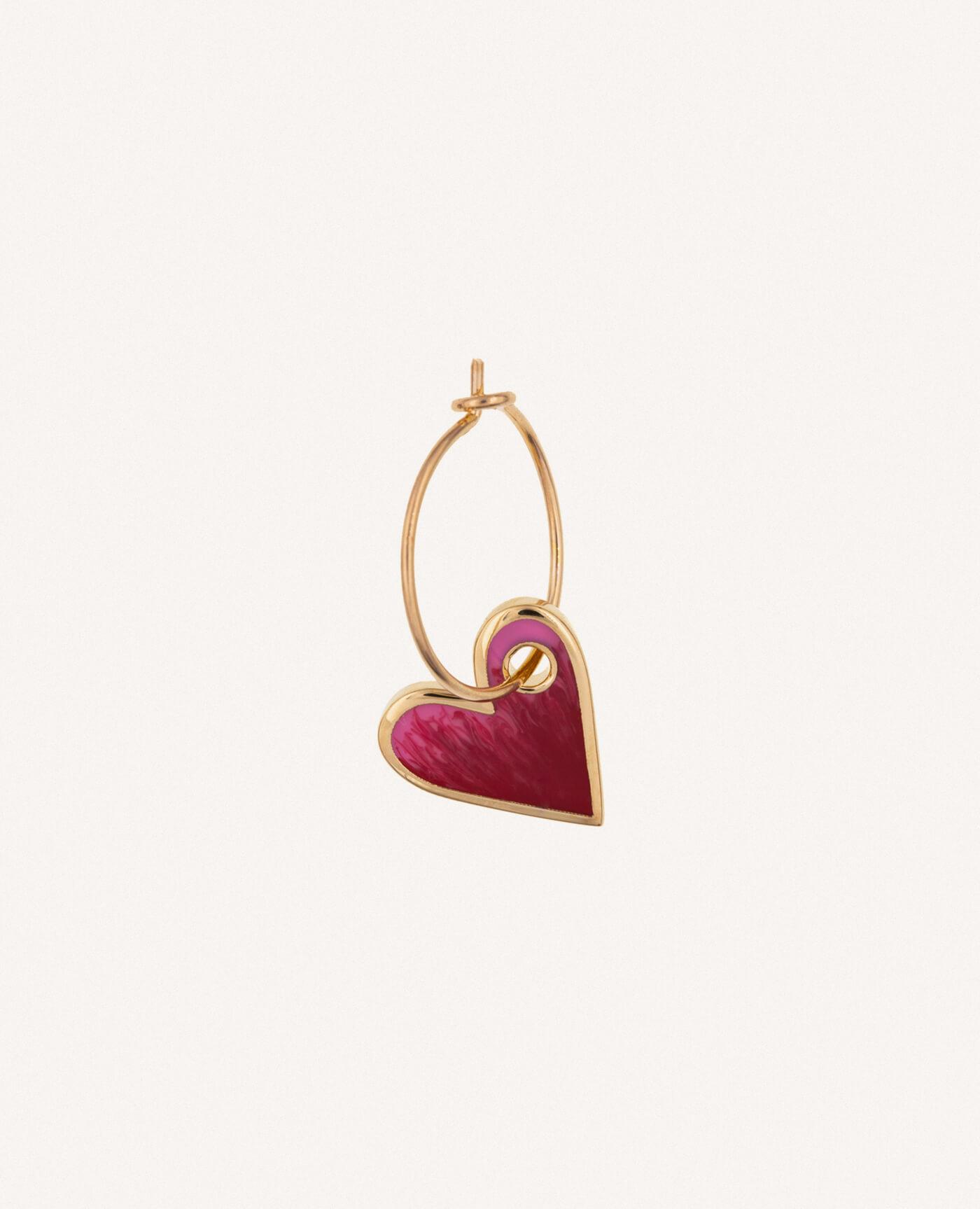 boucle d'oreille créole charm coeur rose de la maque Luj Paris