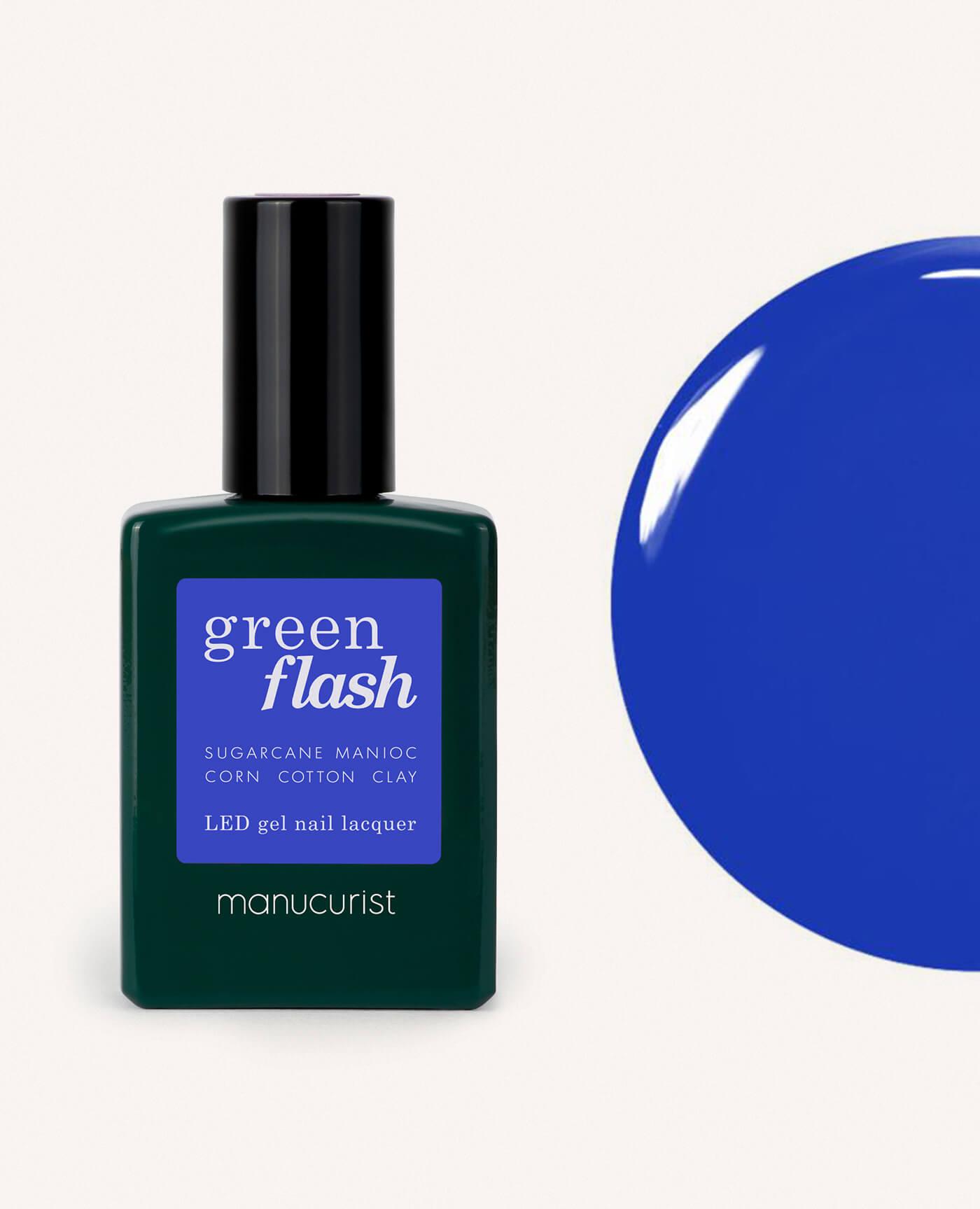vernis semi permanent green flash de la marque Manucurist de couleur bleu electrique ultra marine
