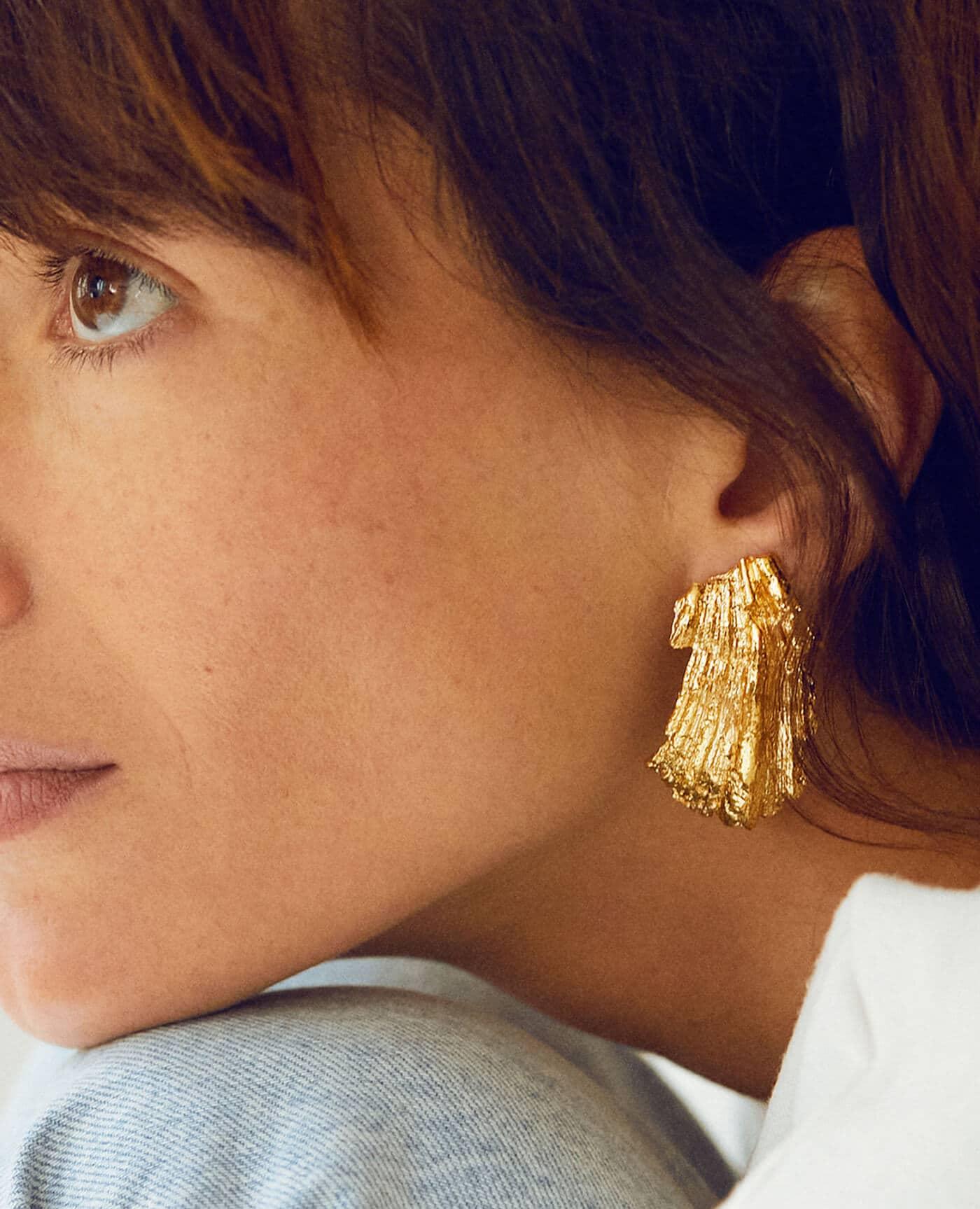 Boucles d'oreilles Gaia en or de la marque Elise Tsikis made in france
