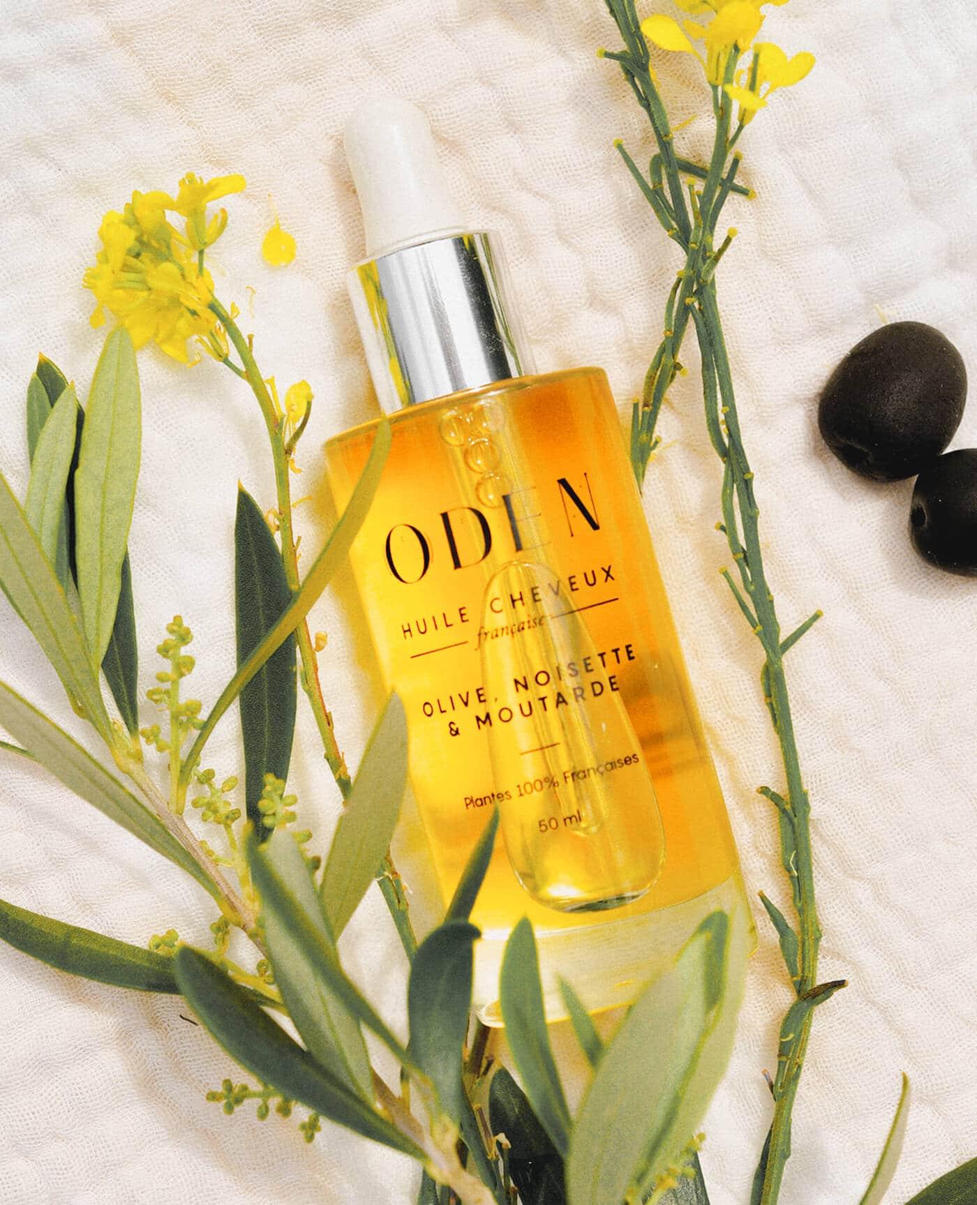Huile cheveux Oden nourrissante et protectrice à l'huile d'olive, noisette et moutarde de la marque Oden