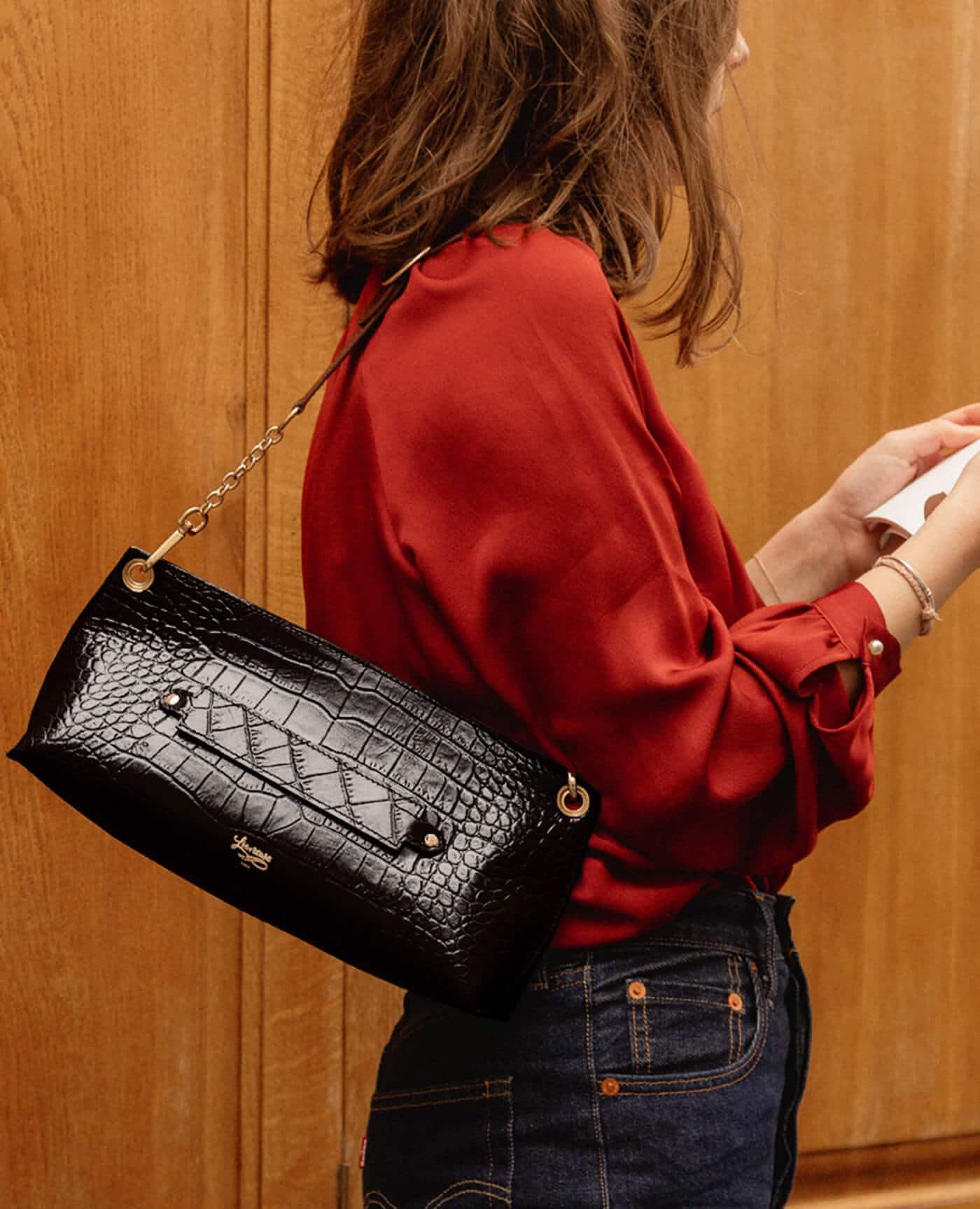 sac baguette Milo mini croco noir made in france de la marque Louvreuse