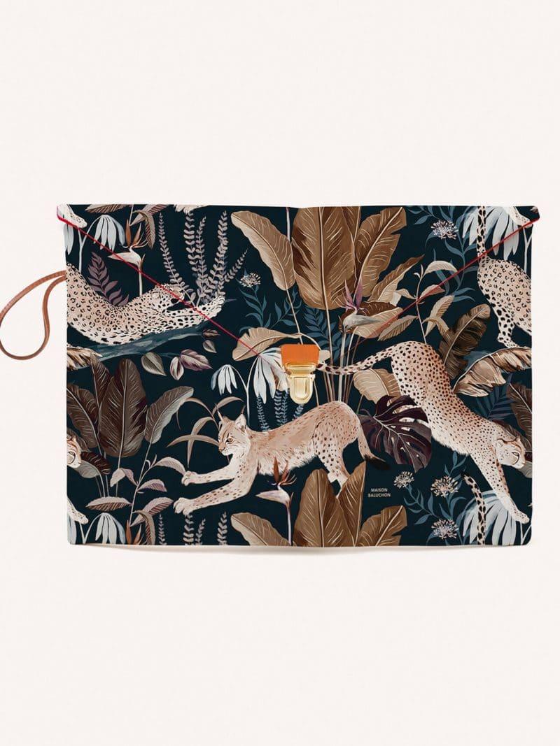 Pochette macbook 13 pouces air et pro motif jungle rose