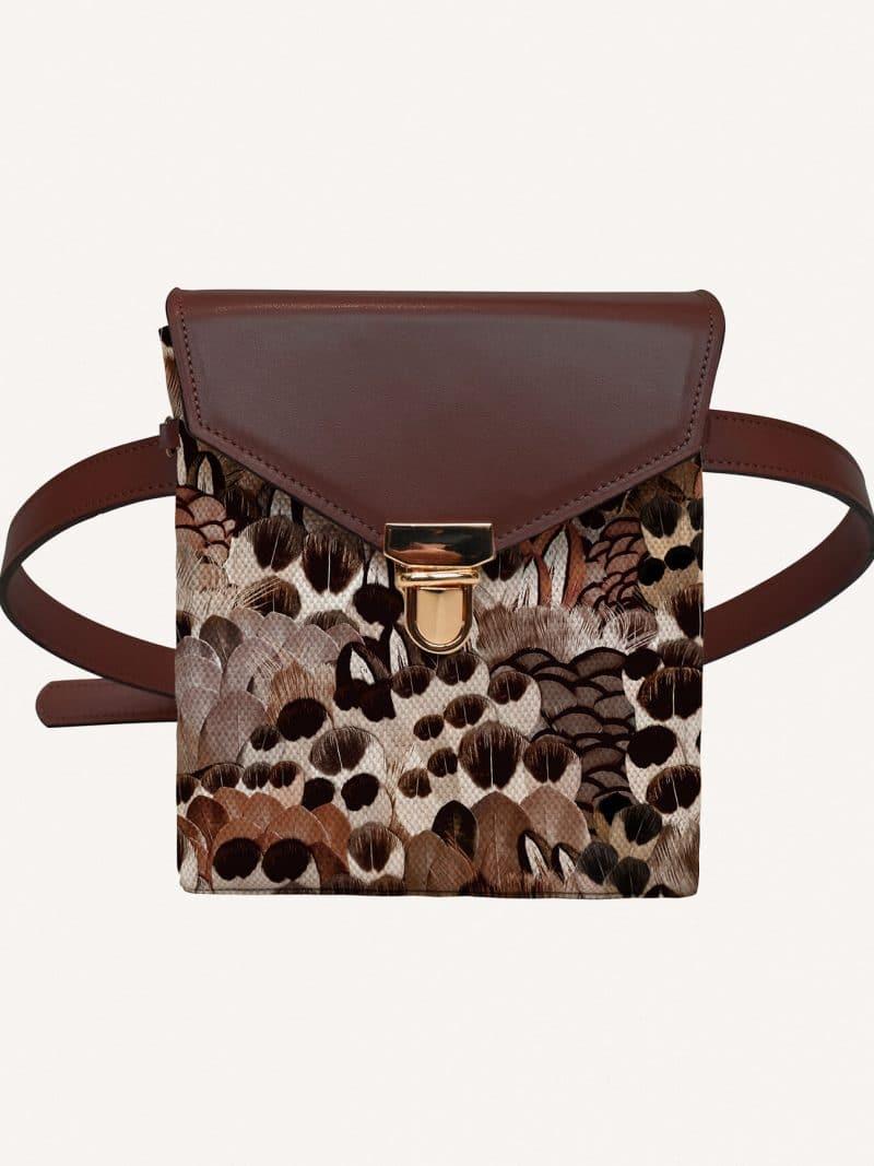 sac mini sauvage en cuir marron de la marque maison baluchon